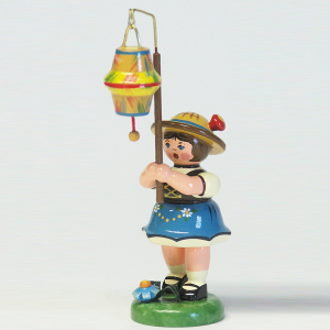 Mädchen-mit-kegelförm,-Lampion